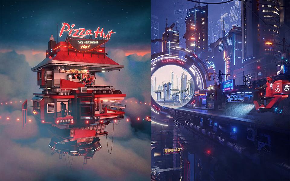 Pizza Hut IG 主題展「2060城市的時空騎遇」,數位藝術家 Jun 讓台灣建築上雲端